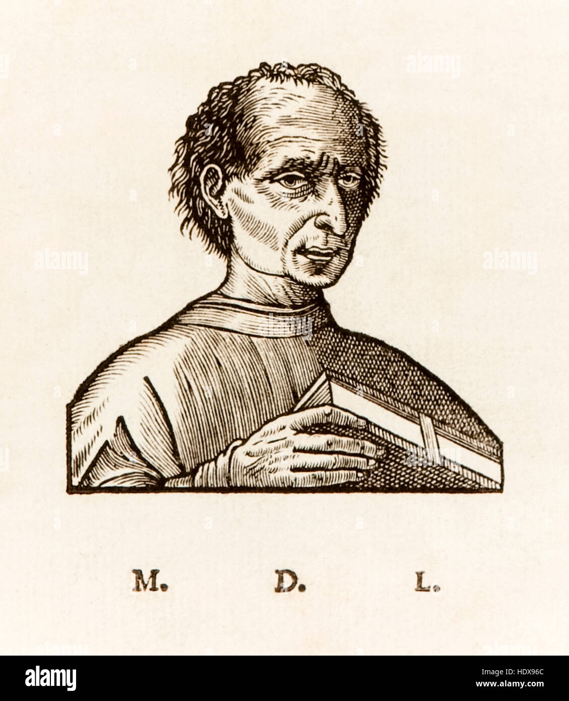 Niccolò Machiavelli (1469-1527) escritor político do Renascimento italiano, xilogravura retrato de 1550 Imagens de Stock