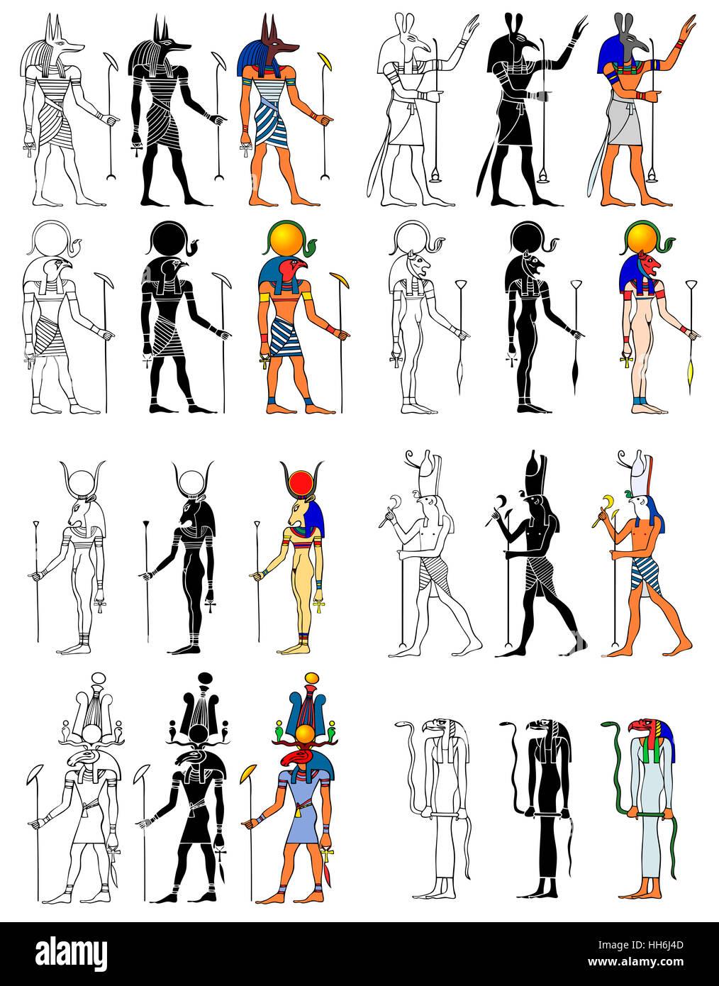 deuses e deusa do antigo egito ra set horus khensu bastet o