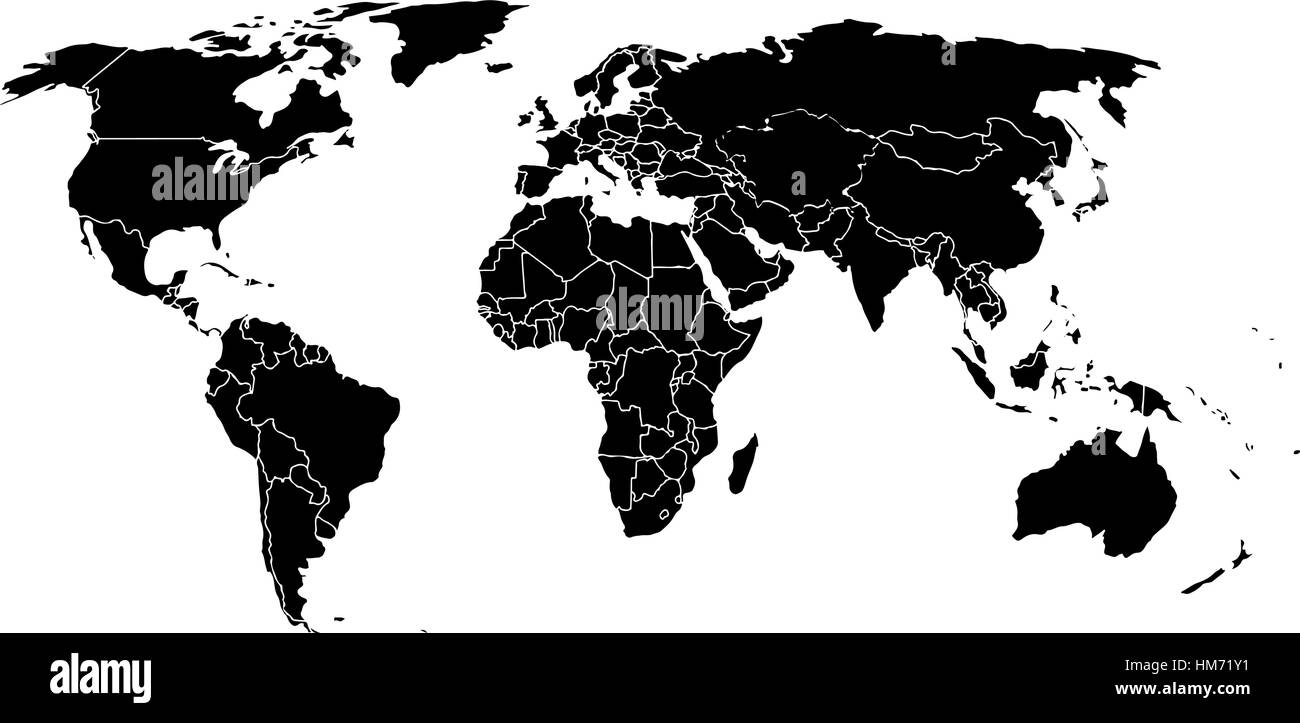 mapa do mundo em branco Preto em branco como um mapa do mundo em um fundo branco. Mapa do  mapa do mundo em branco