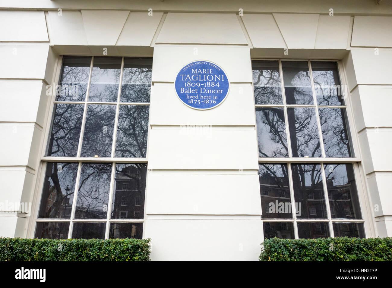Placa azul fora da antiga casa de Marie Taglioni, 14 Connaught Square, Westminster, Londres, Reino Unido Imagens de Stock