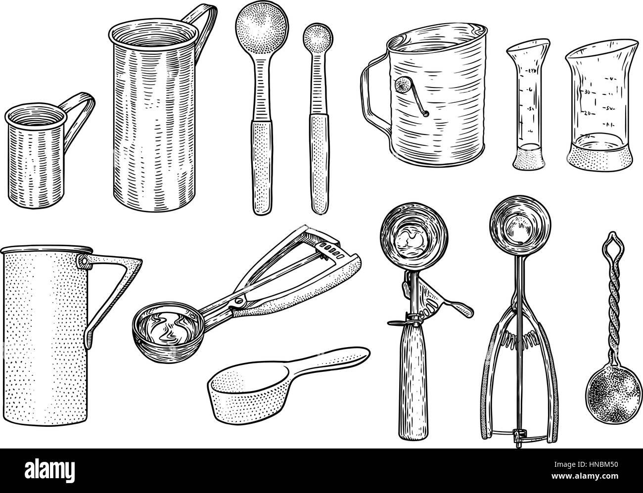 Conjunto De Utens Lios De Cozinha Ilustra O Desenho Gravura  ~ Desenho Utensílios De Cozinha