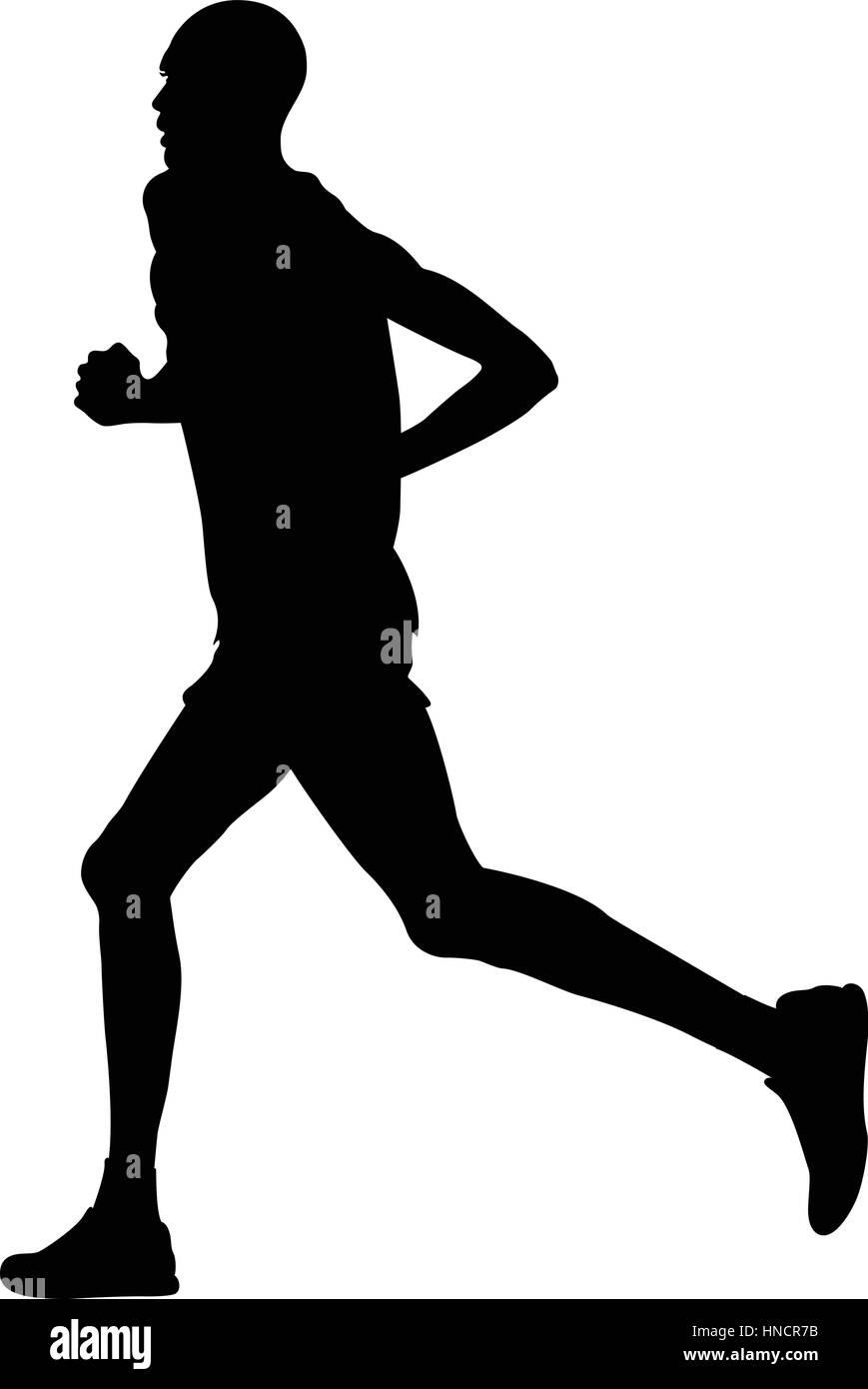 silhueta negra câmara queniano homem correndo maratona ilustração do