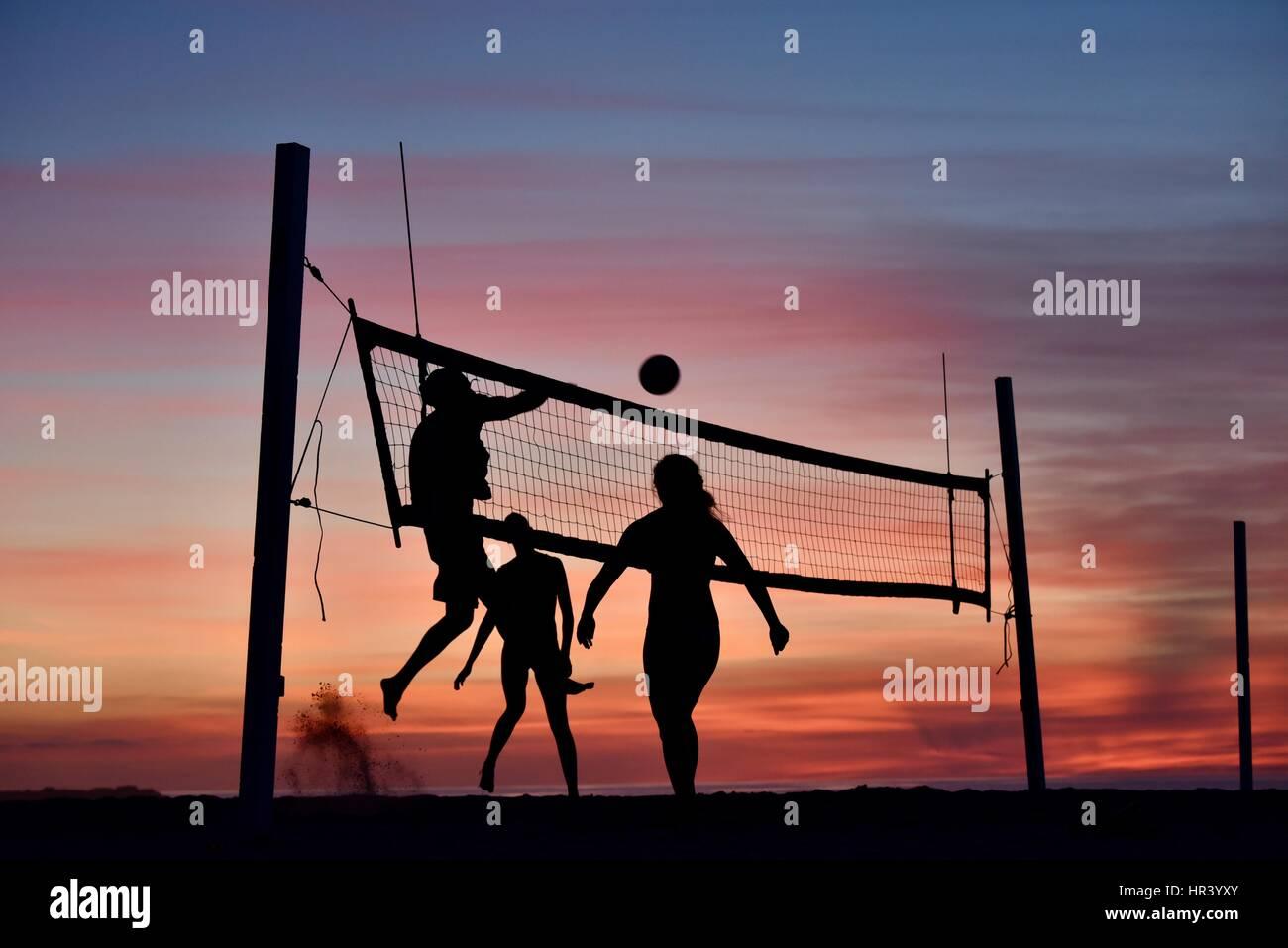 Silhuetas de jogadores de vôlei feminino praticantes da modalidade voleibol na praia ao pôr-do-sol em Imagens de Stock