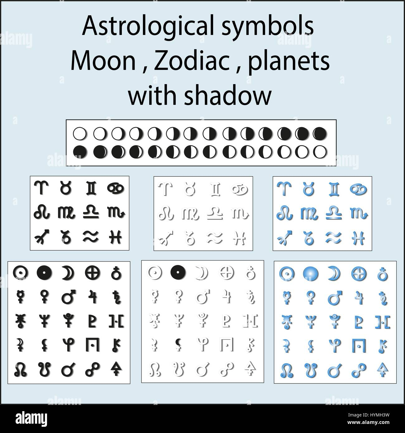Astrological symbols of the moon, the planets, the zodiac