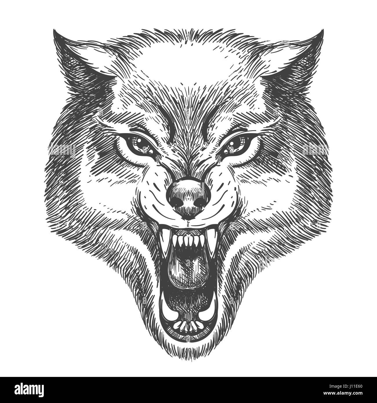 desenhados à mão wolf na cabeça desenho estilo wolf com boca aberta