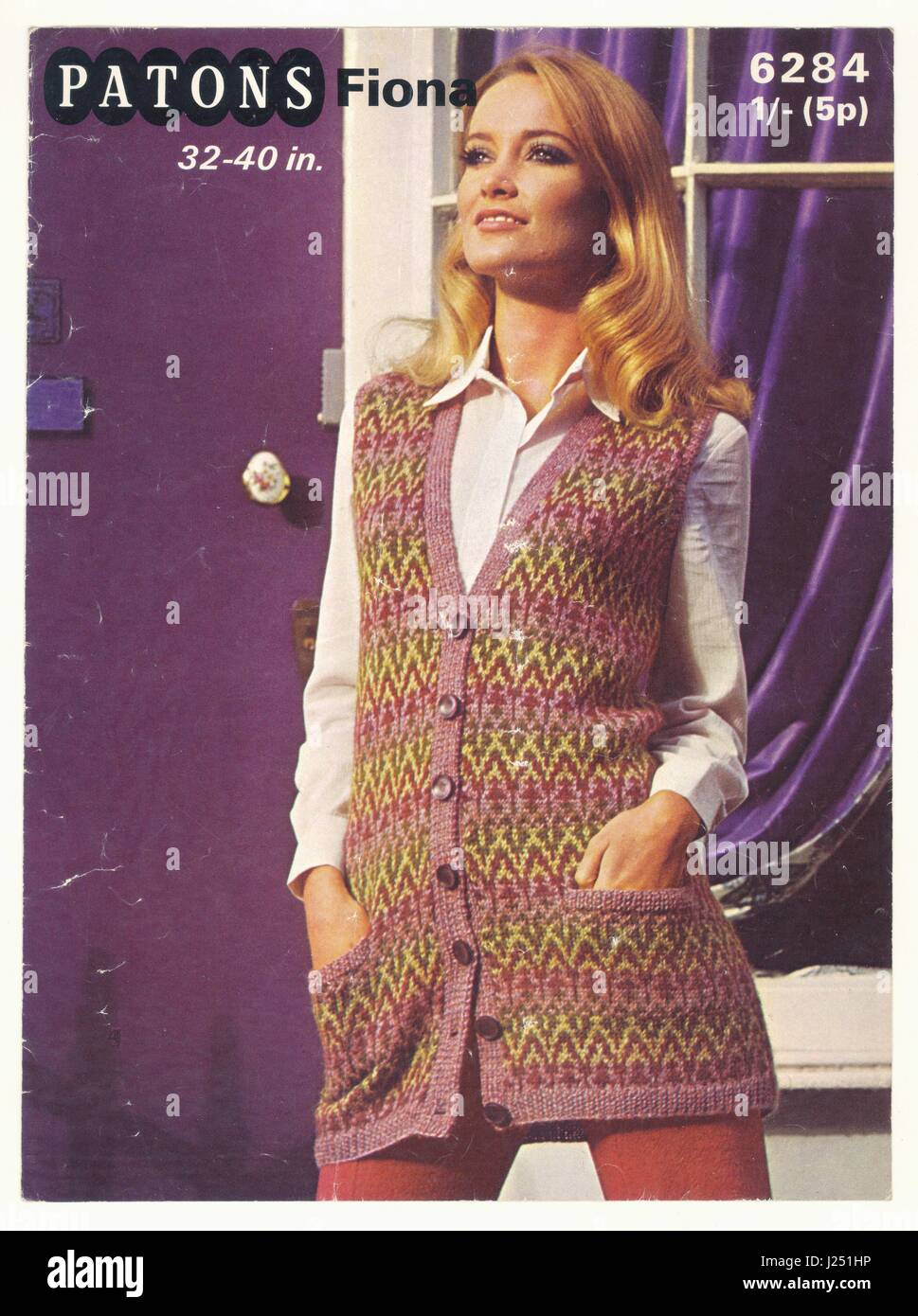 Retro de tricotar padrão a partir de 1970 Imagens de Stock