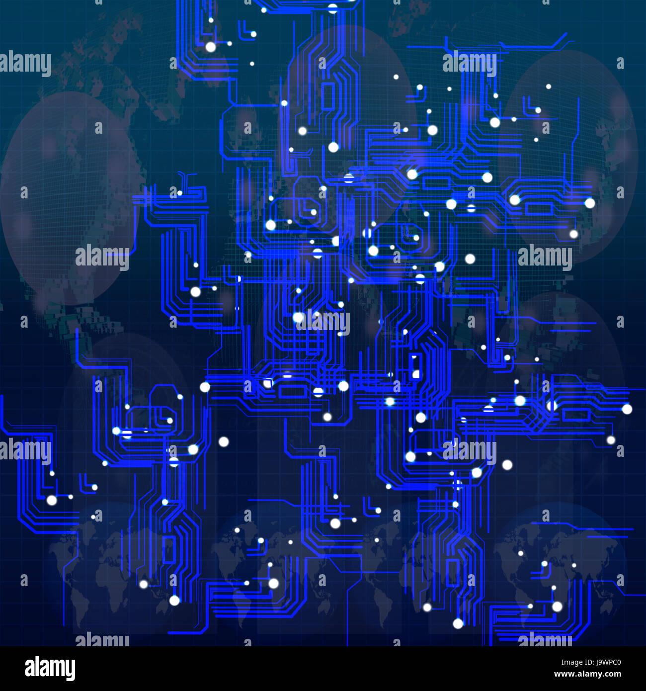 Circuito Eletronica : Circuito da moderna tecnologia eletrônica no mapa mundo usar para
