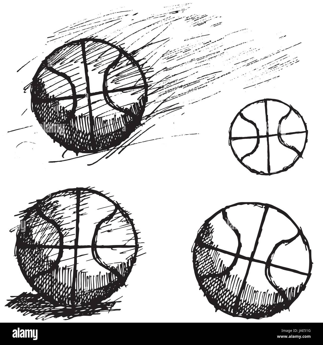 basquetebol bola desenho conjunto isolado no fundo branco ilustração