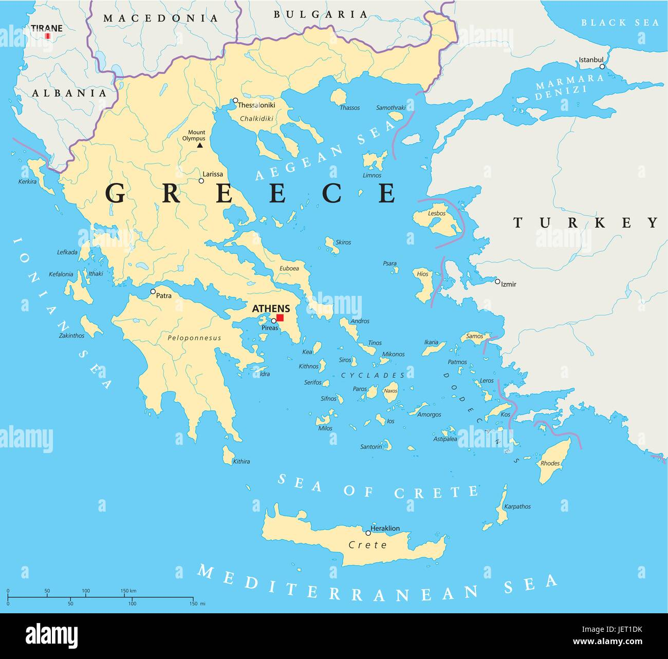 political, greece, greek, athens, map, atlas, map of the world Stock on