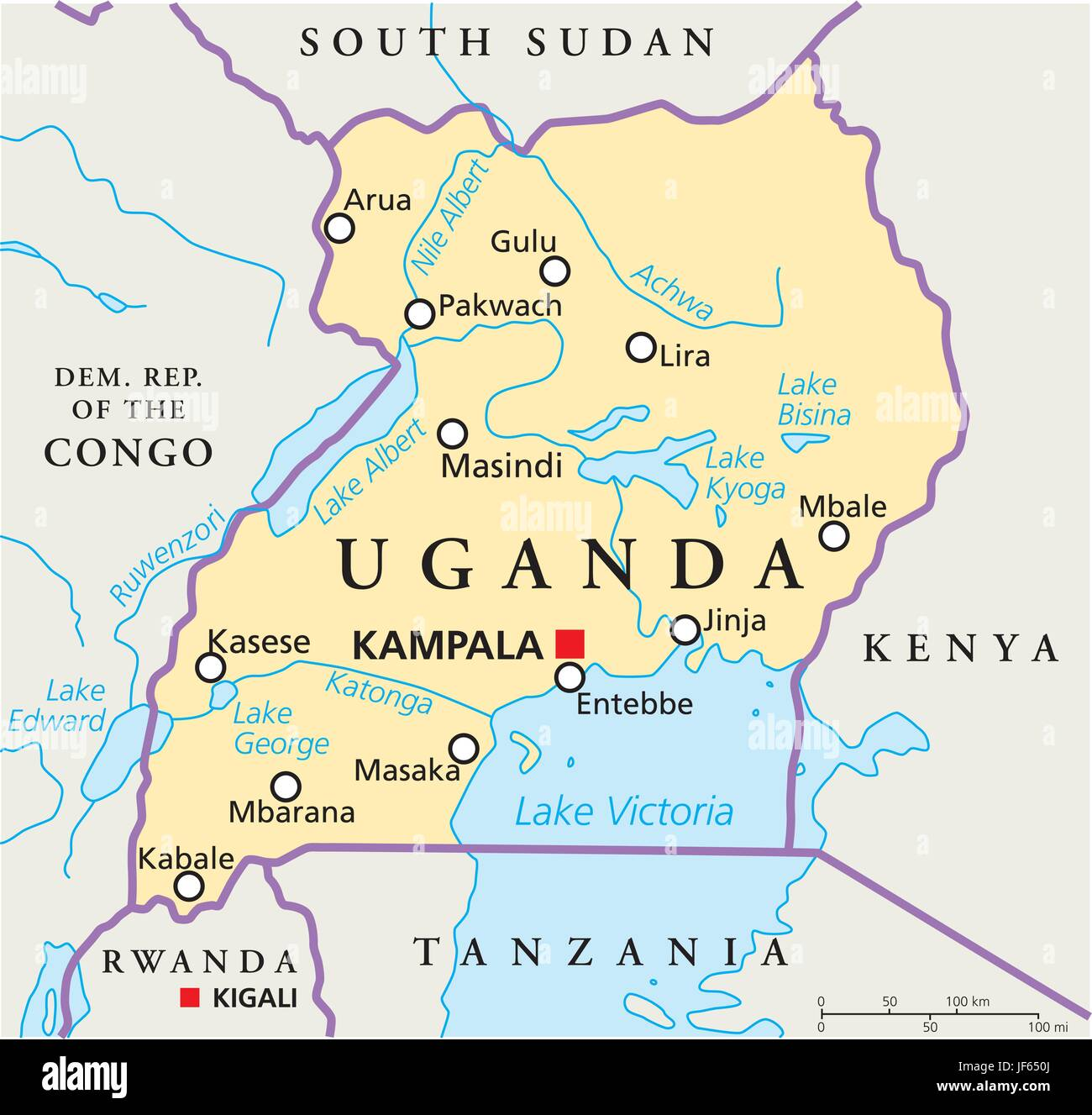 political, africa, country, uganda, map, atlas, map of the ...