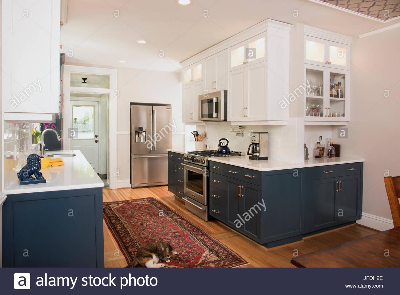 Cozinha Moderna Com Arm Rios Azul Inferior Superior Branco