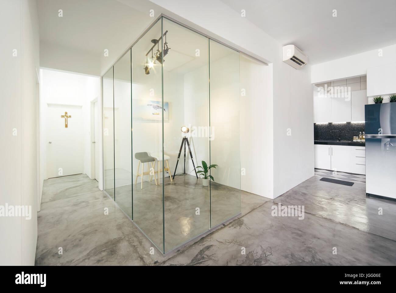 Modernos E Luminosos Limpo Vida Sala De Estudo E Cozinha  ~ Divisoria Para Cozinha E Sala
