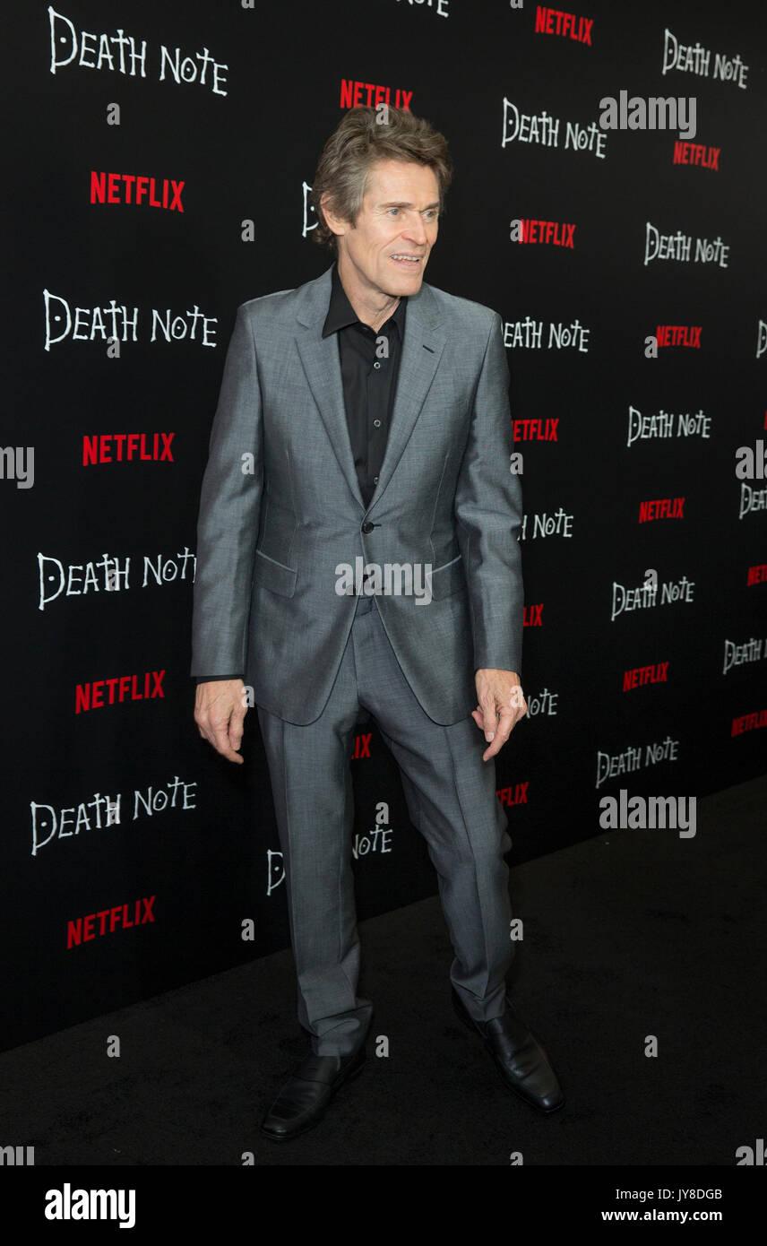 New York, Estados Unidos. Xvii Ago, 2017. Willem Defoe atende a Netflix premiere morte nota no AMC Loews Lincoln Imagens de Stock