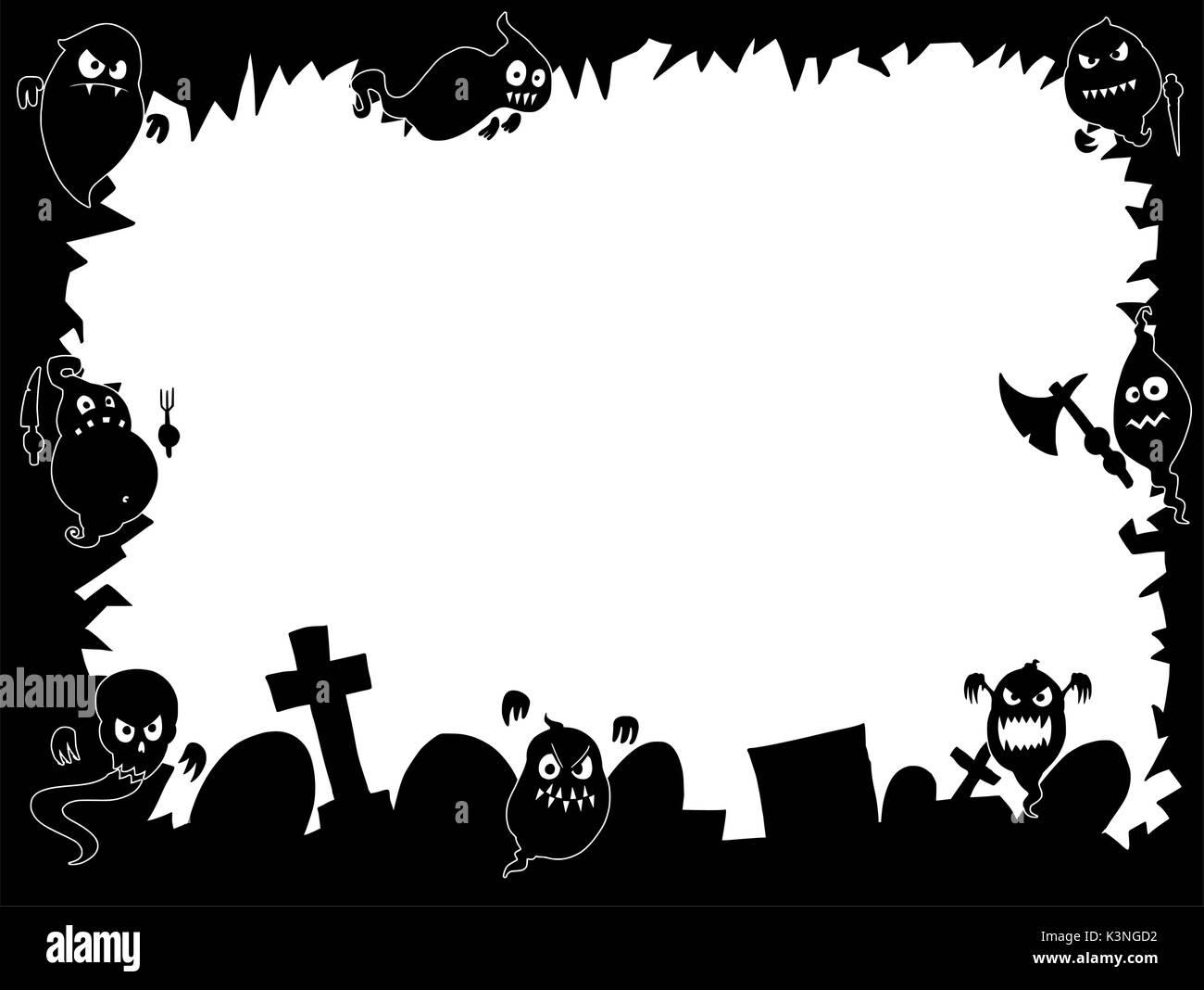lado da estrutura do dia das bruxas com desenho cartoon engraçado