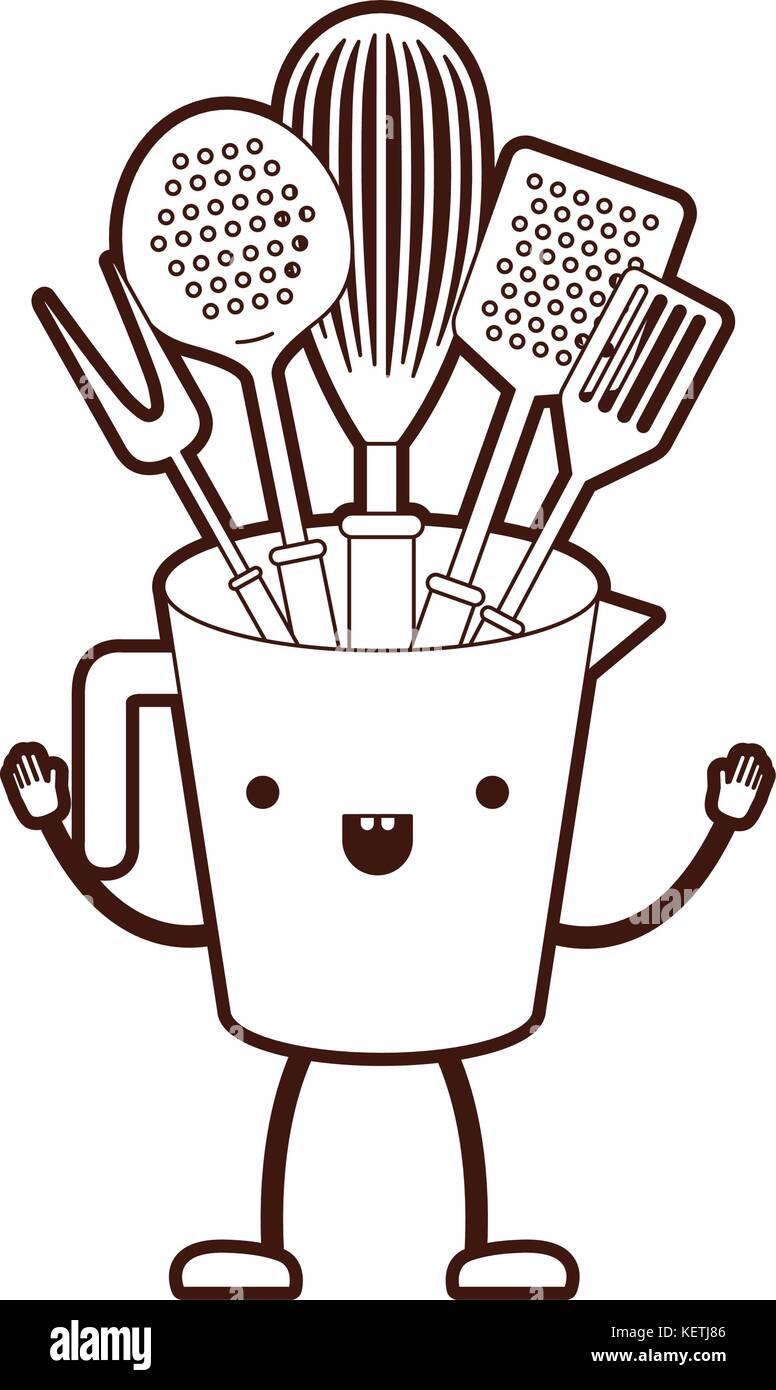Jar With Kitchen Utensils Cartoon Brown Silhouette Stock Vector Art