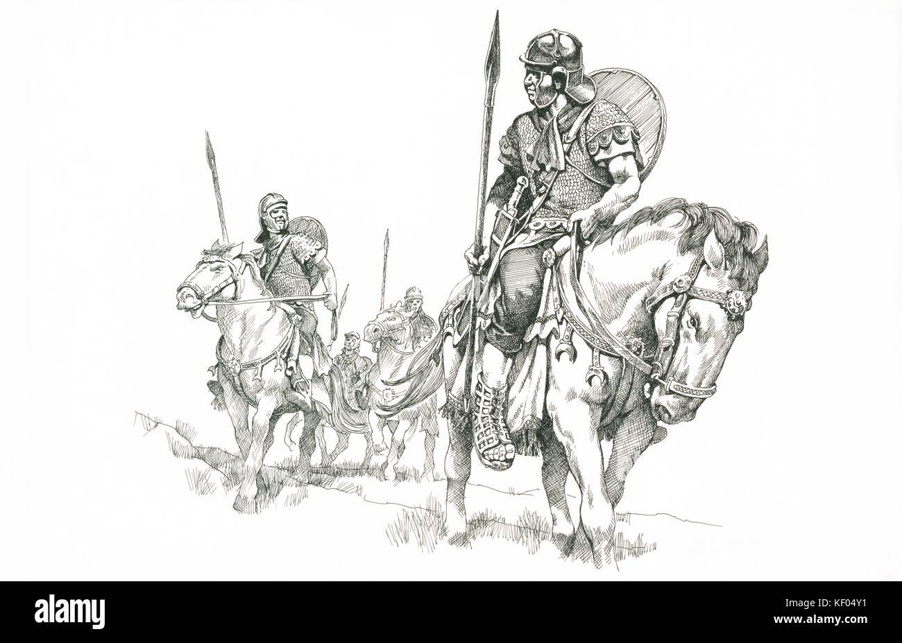 adriano desenho de linha de reconstrução dos soldados romanos