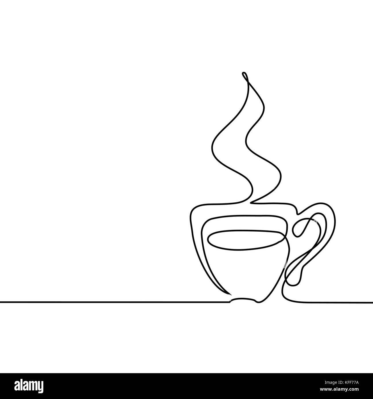 linha contínua desenho da xícara de café ilustração vetorial