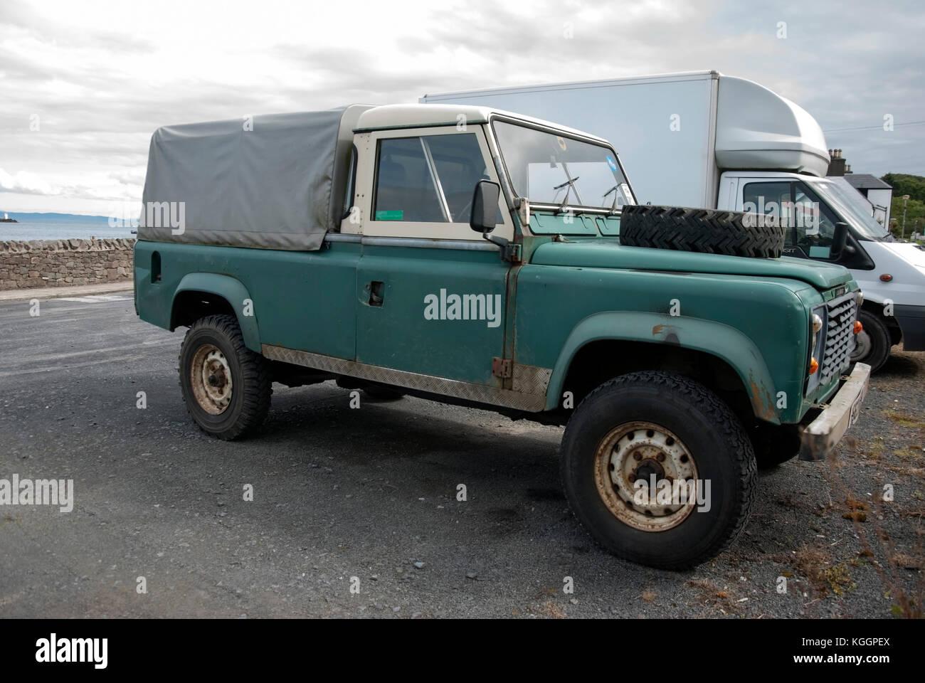 1980's Green White Land Rover Defender 110 Pick up
