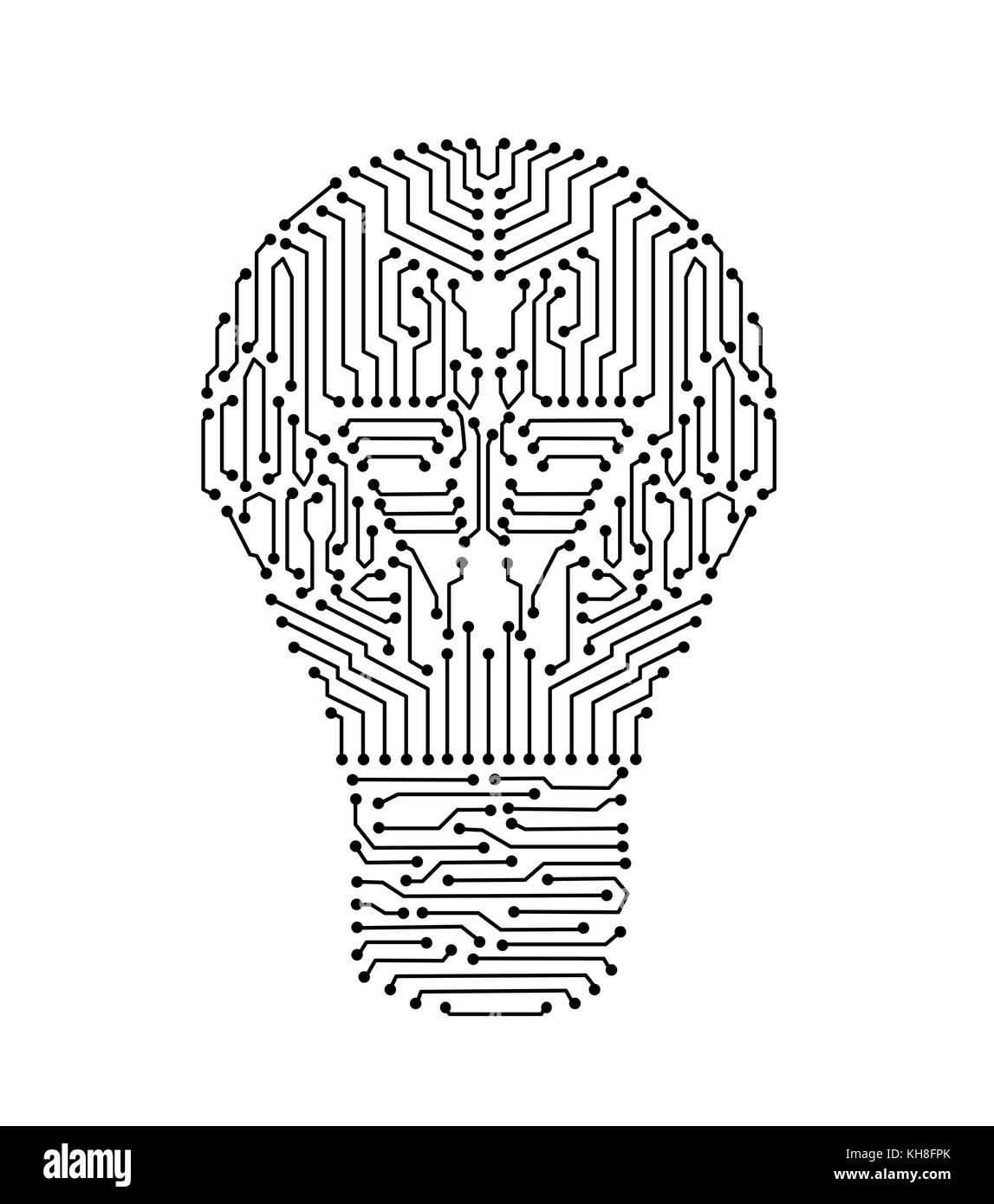 Circuito Eletronica : A placa de circuito em forma de lâmpada lâmpada eletrônica ou