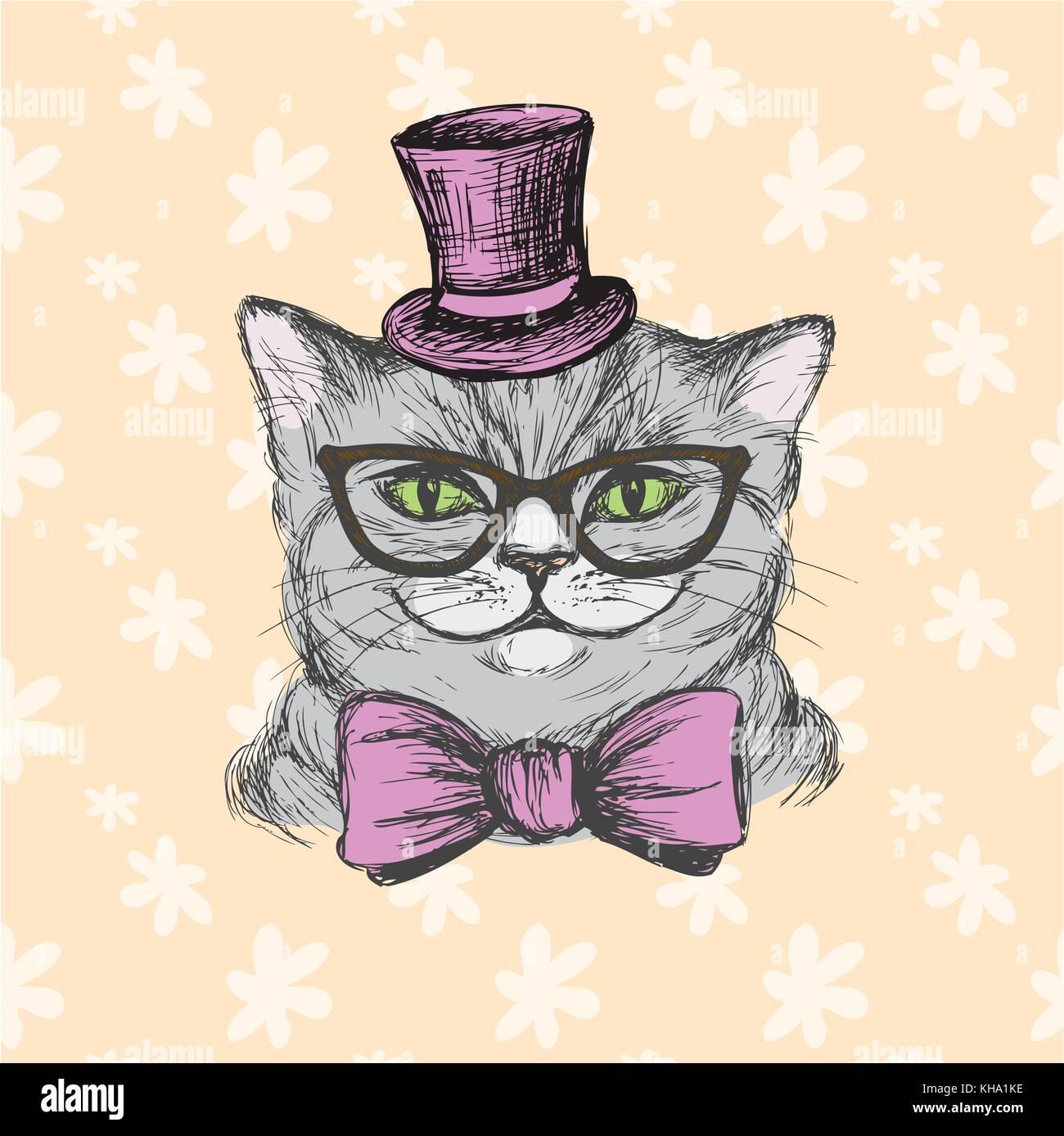 A Moda Do Gato No Chap U Culos E Gravata Borboleta Desenho  -> Borboleta Vetor