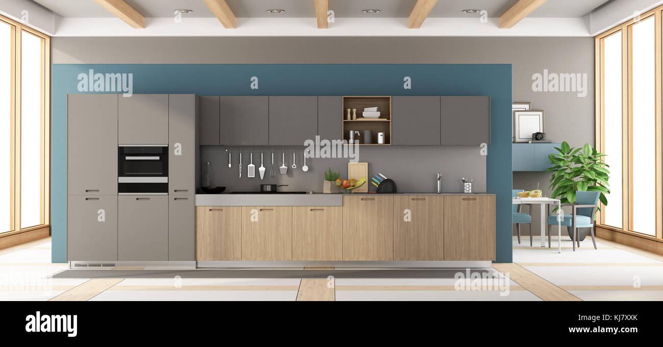 E Cinza De Madeira Moderna Cozinha Com Mesa De Jantar E Cadeiras No