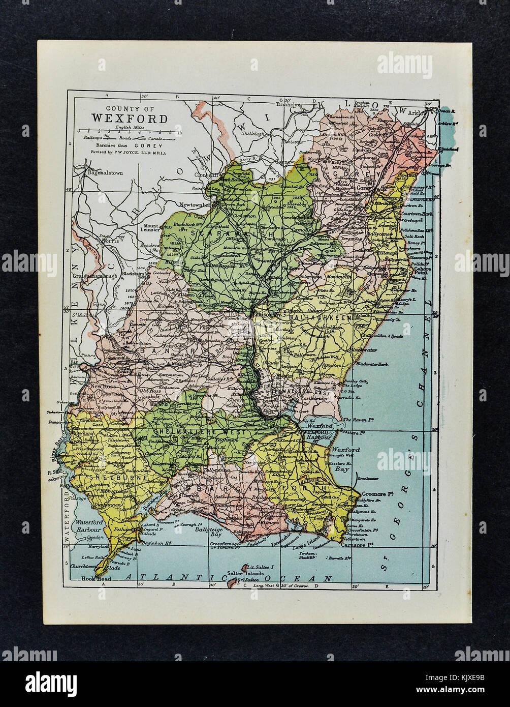 Wexford Map Of Ireland.Antique Ireland Map Wexford County Enniscorthy Newtonbarry Gorey