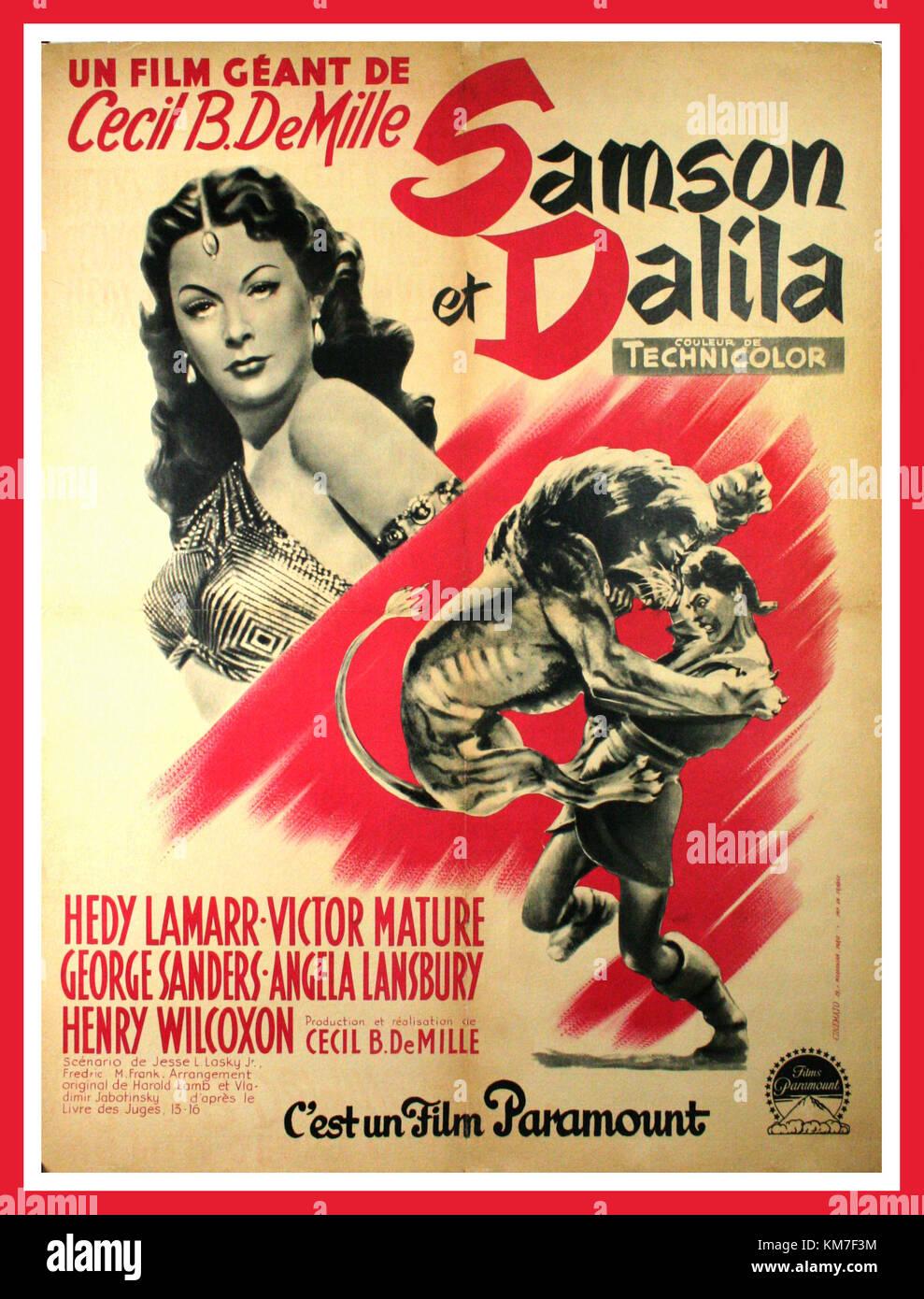 Vintage 1940s Movie Film Poster Samson Dalila 1949