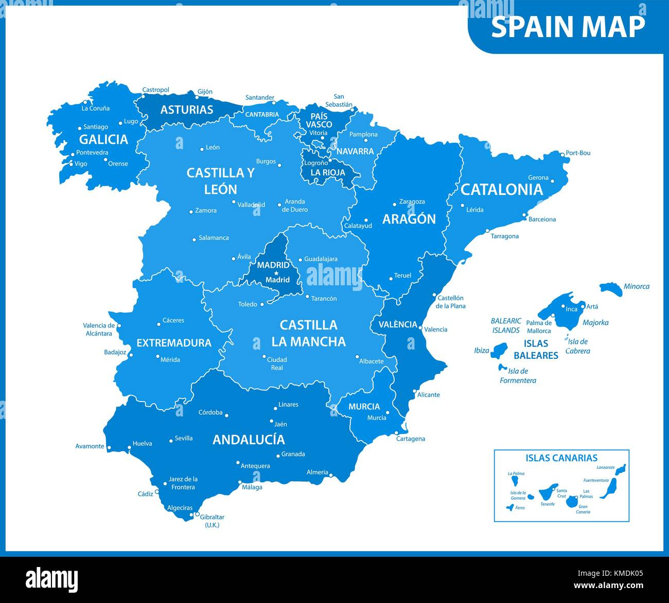 Detailed Map Of Spain.The Detailed Map Of The Spain With Regions Or States And Cities