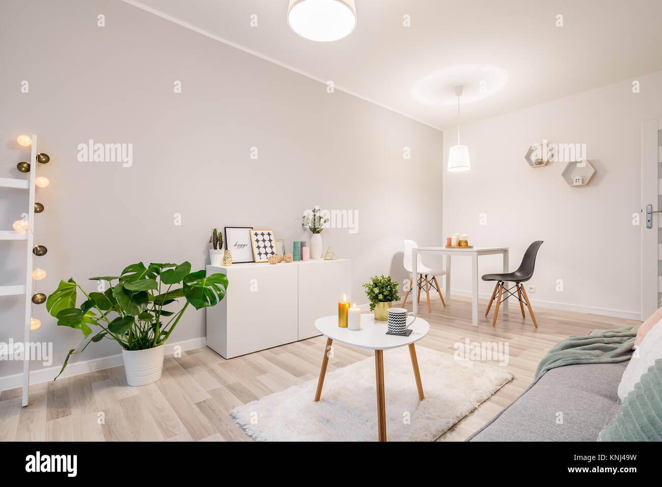 White living room in scandinavian style with couch, table and ...