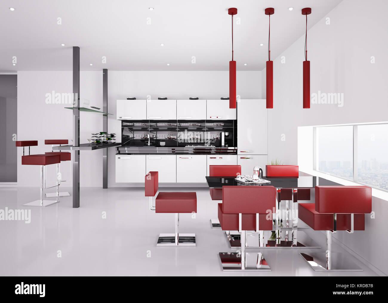 Interior Da Cozinha Moderna Em Branco Com Cadeiras Vermelho 3d