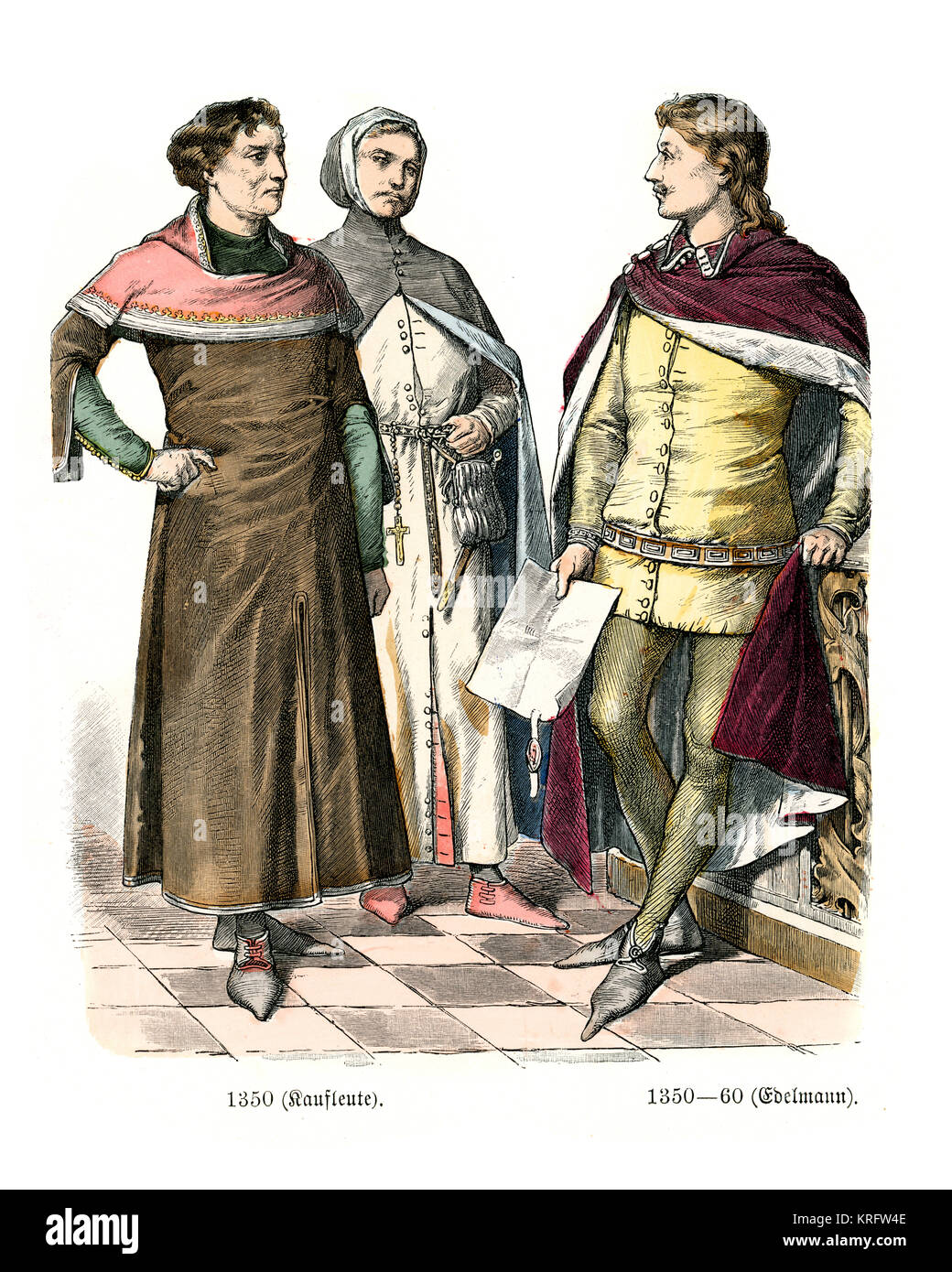 Vintage engraving of English medieval clothing, 14th Century Stock