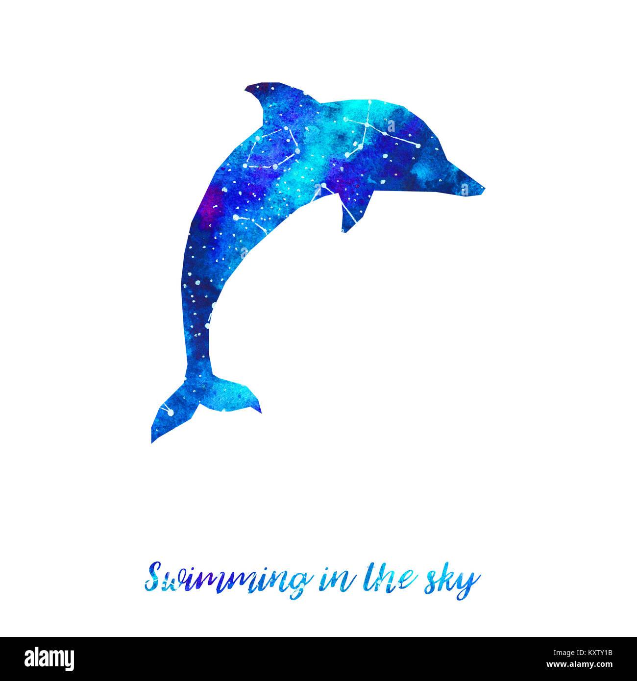 silhueta de golfinho céu estrelado com diferentes constelações mão