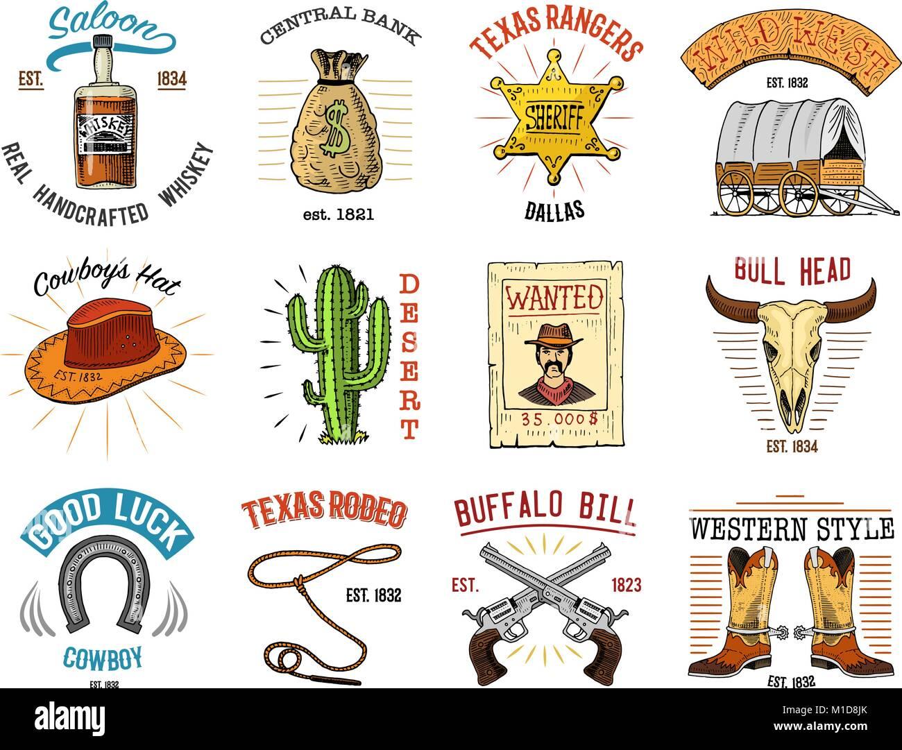 conjunto cowboy badges wild west índios ou de rodeio com lasso
