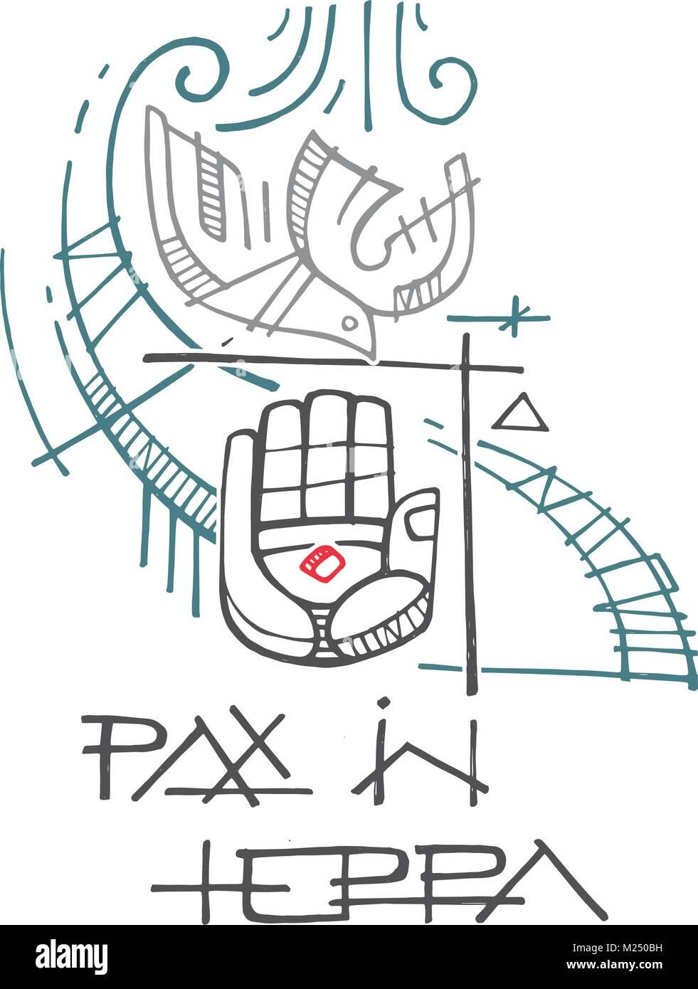 mão de tinta vetor ilustração ou desenho de alguns religiosos os
