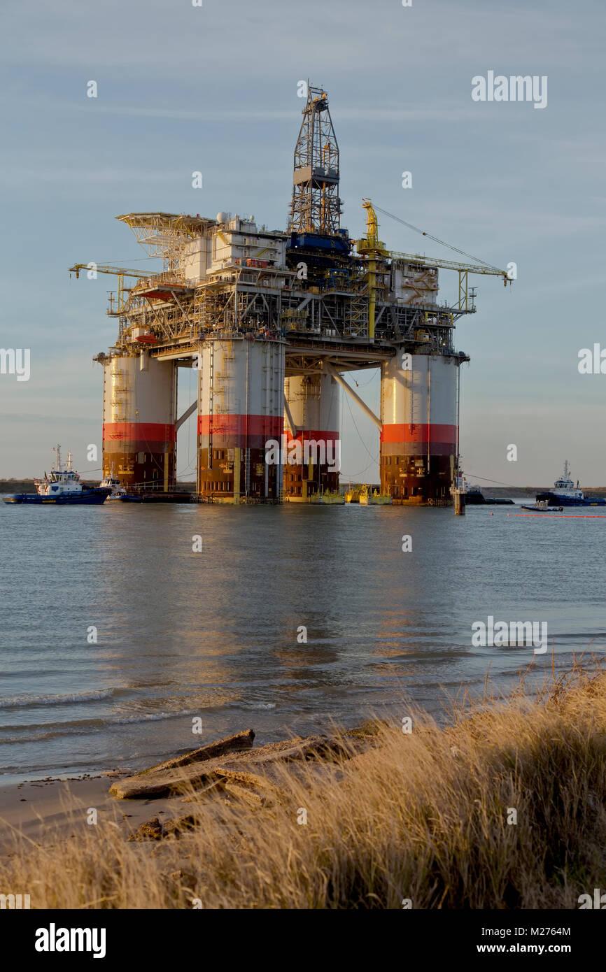 'Big Foot' plataforma Ocean Offshore da Chevron, óleo & gás natural rig, partiu Ingleside, Imagens de Stock