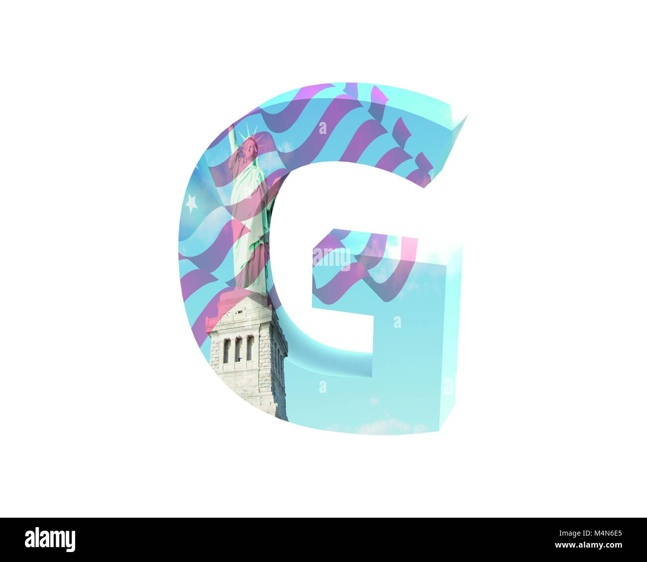 3D Rendering Font NYC Capital G Imagens De Stock