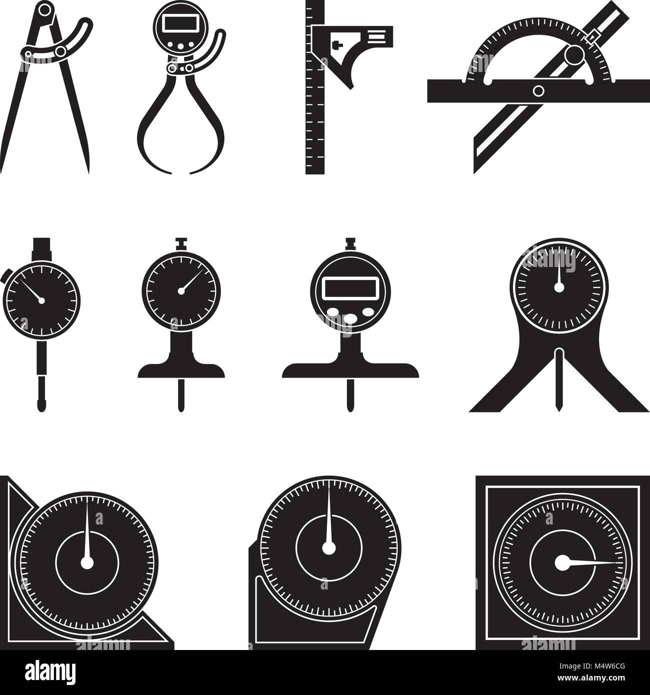 Set Of Various Types Of Measuring Tools Flat Vector Stock Vector