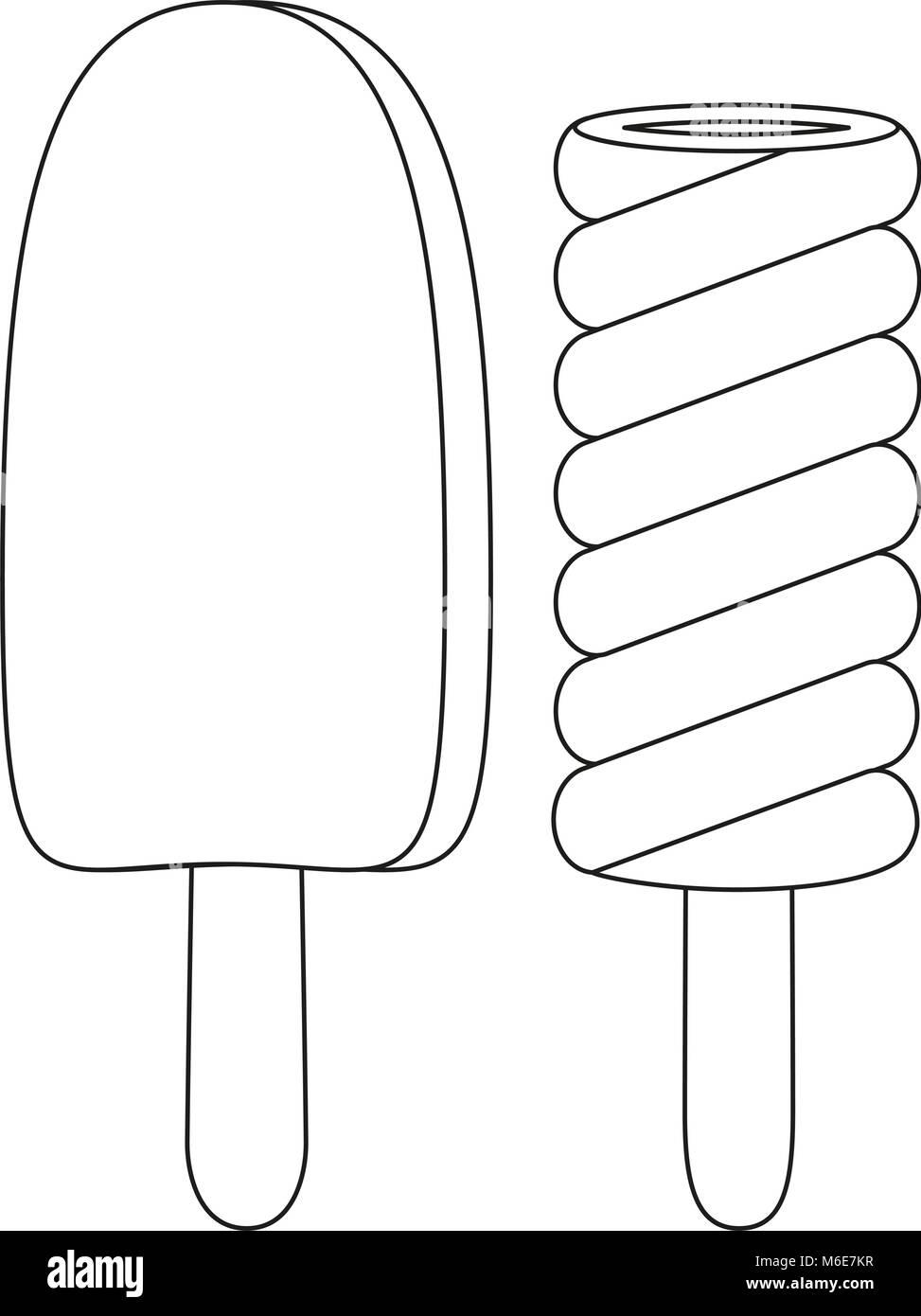 preto e branco ícone arte linha de sorvete de chocolate picolé de