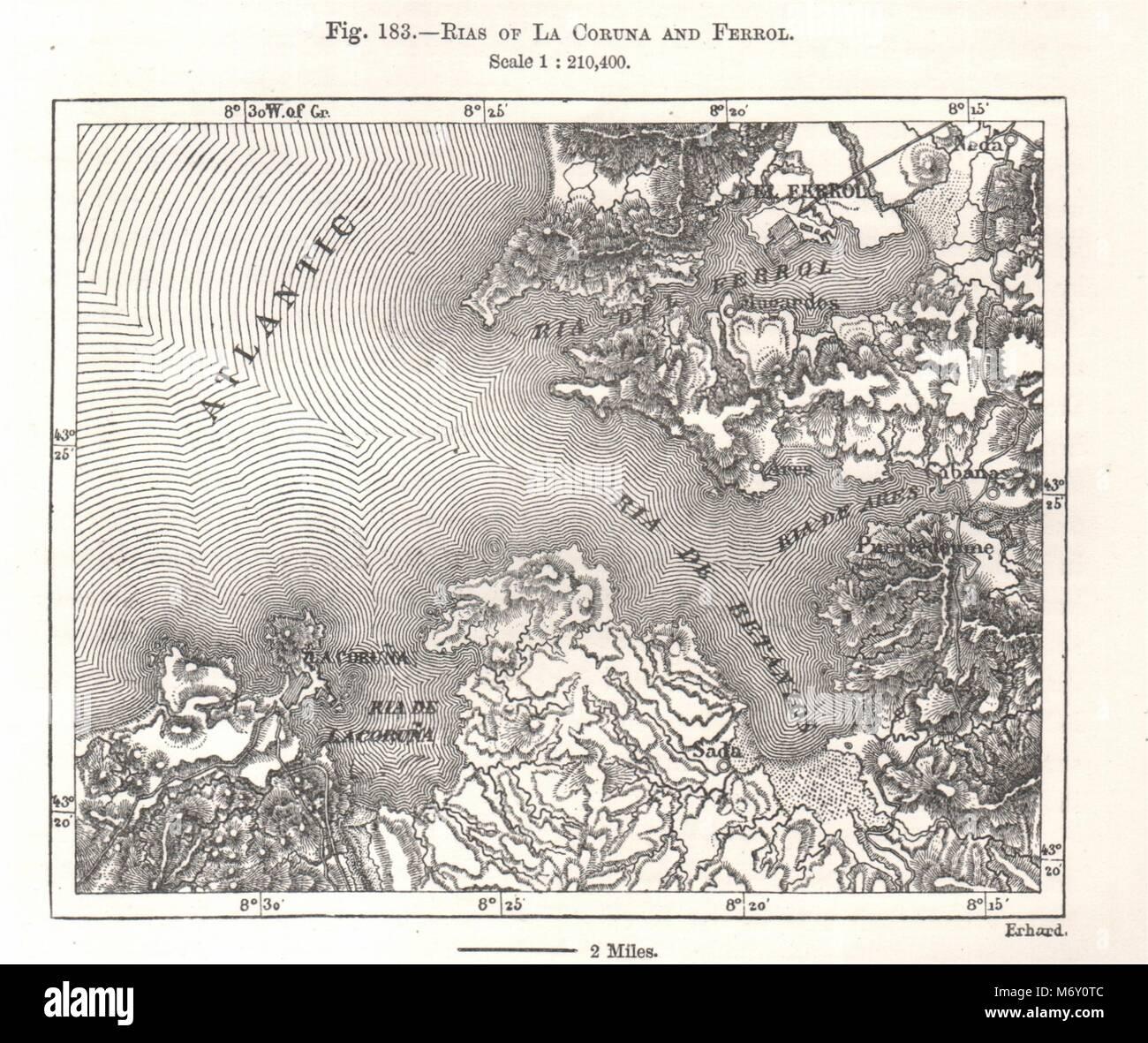 ferrol espanha mapa Rias de La Corunha e Ferrol. A Espanha. Esboço de mapa gráfico  ferrol espanha mapa