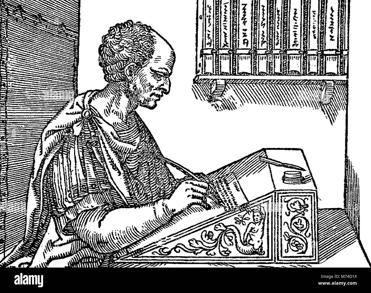 Cícero (106 A.C. - 43 a.C.) a escrever suas cartas, uma xilogravura de Marcus Tullius Cicero datado de 1547. Imagens de Stock