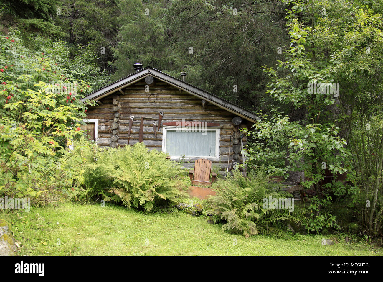 Alaskan log cabin fotos alaskan log cabin imagens de for Cabina remota alaska