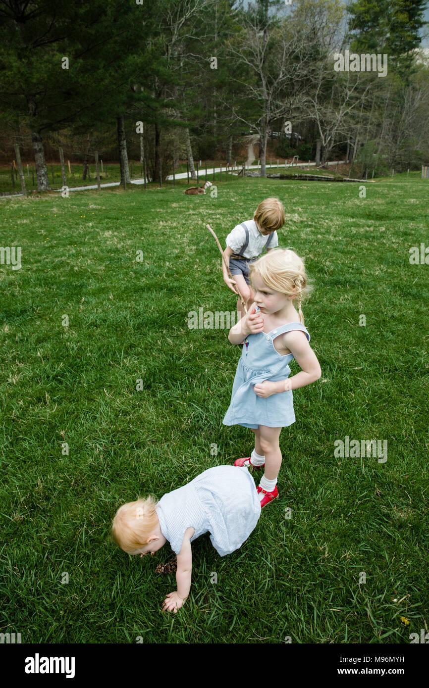 Bebê e duas crianças no campo Imagens de Stock