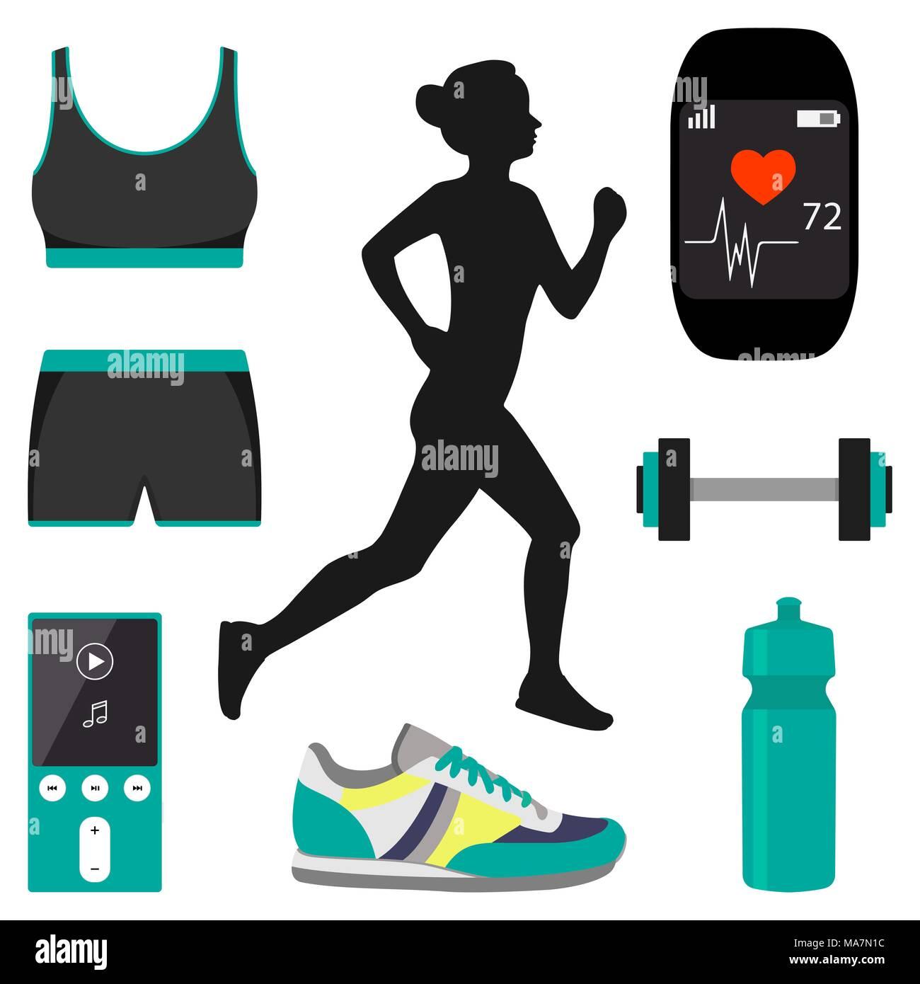 silhueta de uma garota correndo em uma esteira e jogging atributos
