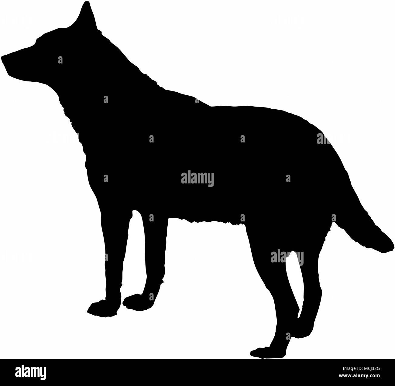silhueta do cão lobo preto isolado no fundo branco ilustração