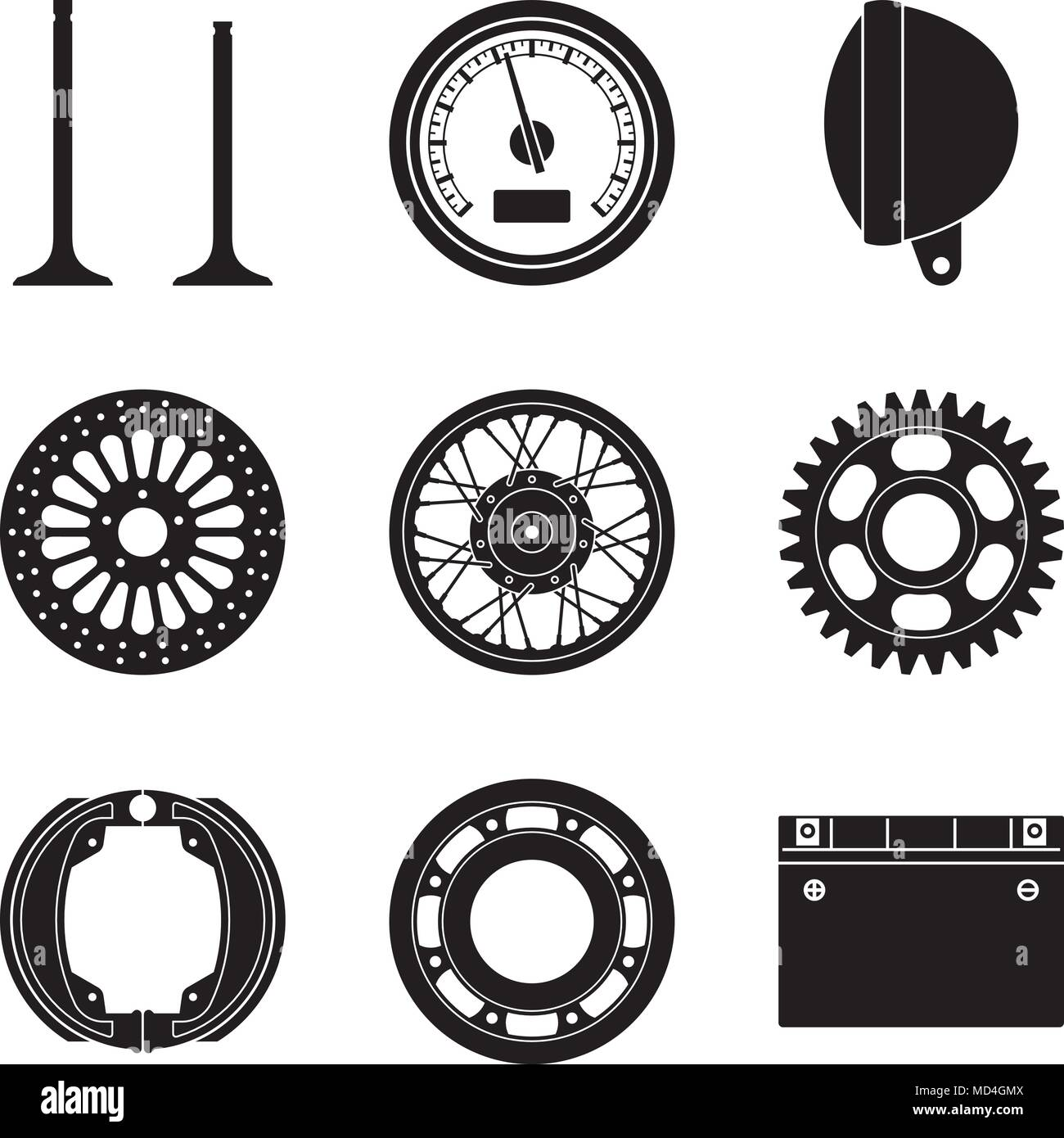 Motorcycle Parts And Accessories Silhouette Vector Stock Vector Art