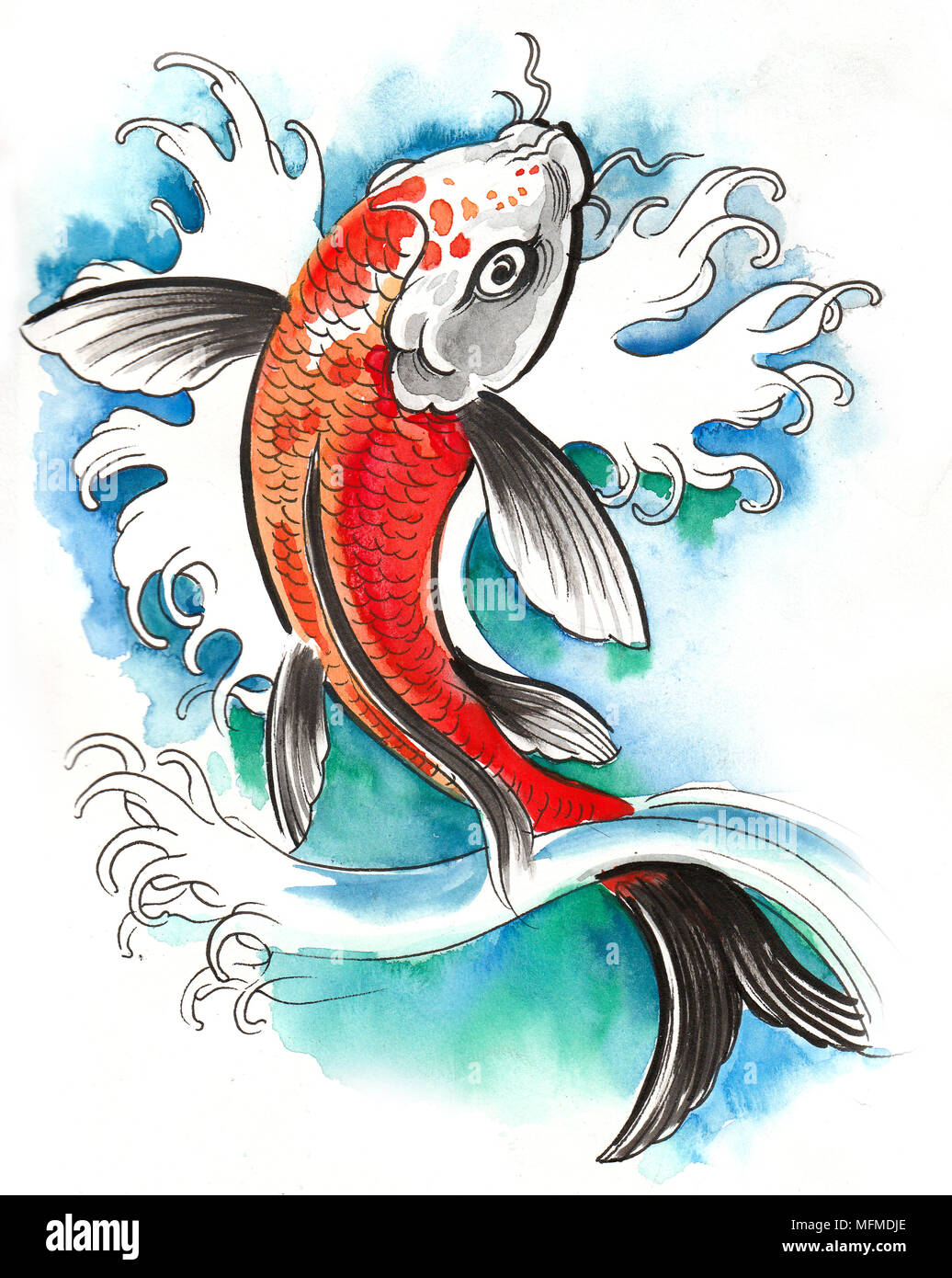 Ink And Watercolor Drawing Of A Koi Fish Stock Photo 181773270 Alamy