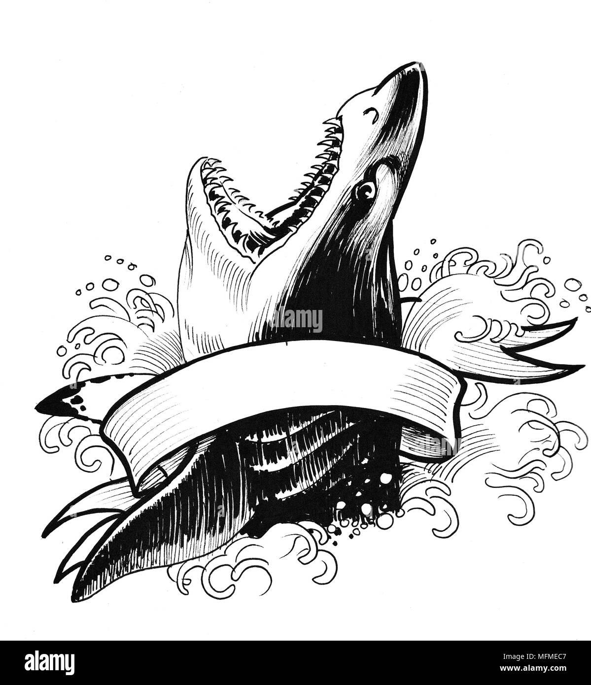 a tinta preto e branco desenho de um tubarão com a boca aberta e