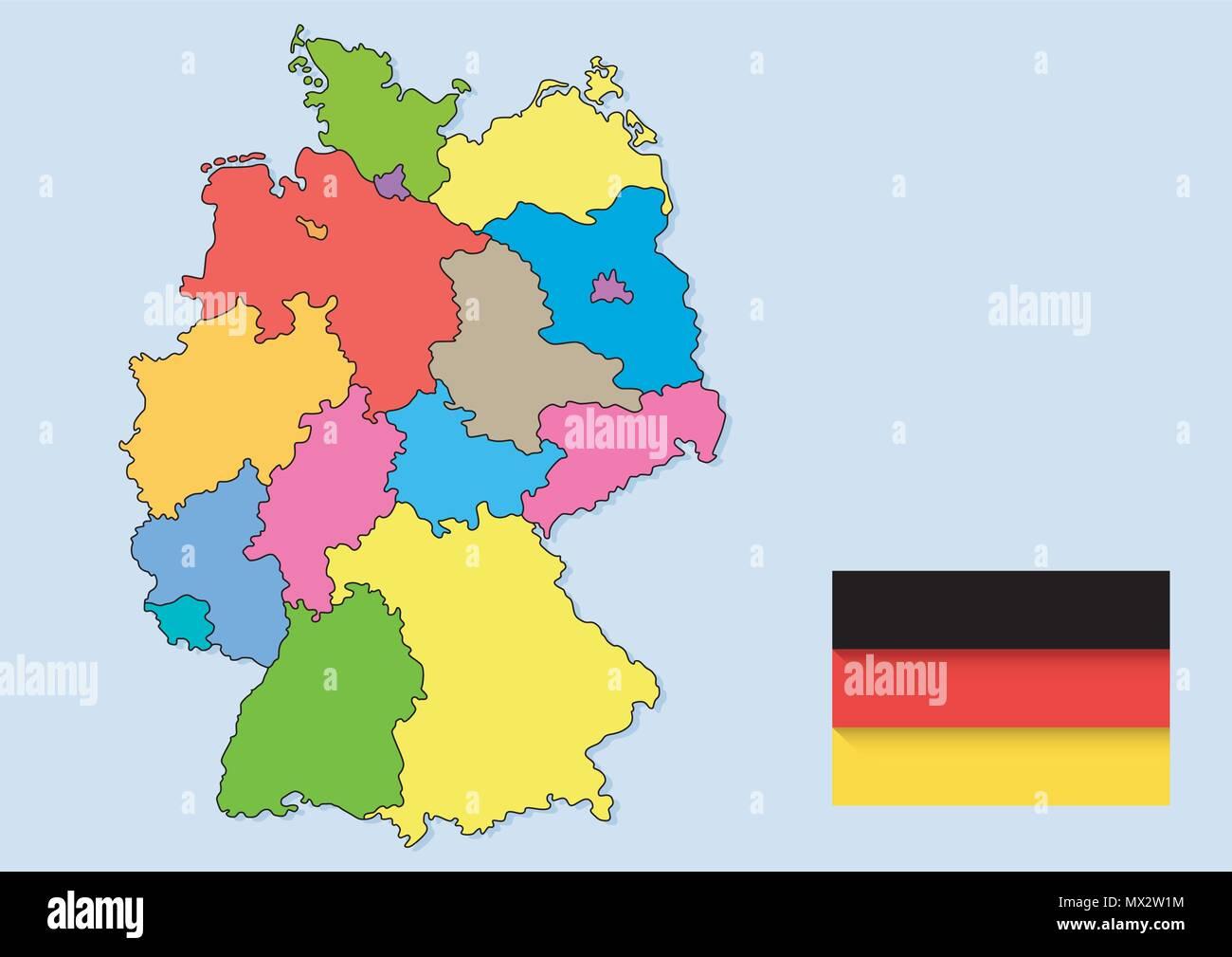 vetor desenho de mapas de países região alemã ilustração do vetor