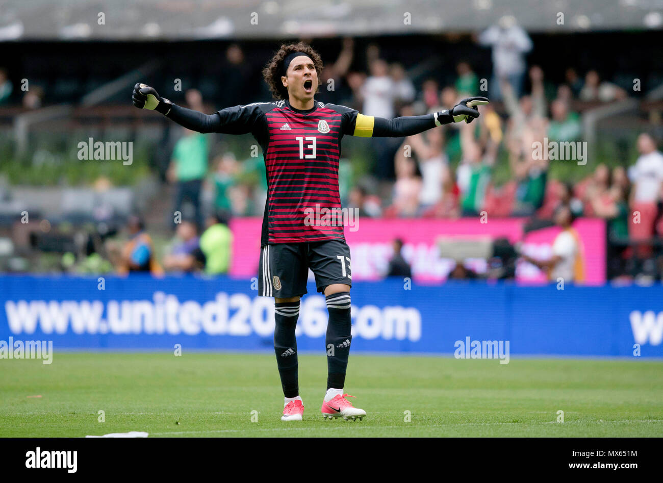 0237a0ad31c Goalkeeper Guillermo Ochoa of Mexico celebrates a goal during the  international friendly match against Scotland before the 2018 FIFA World Cup  ...