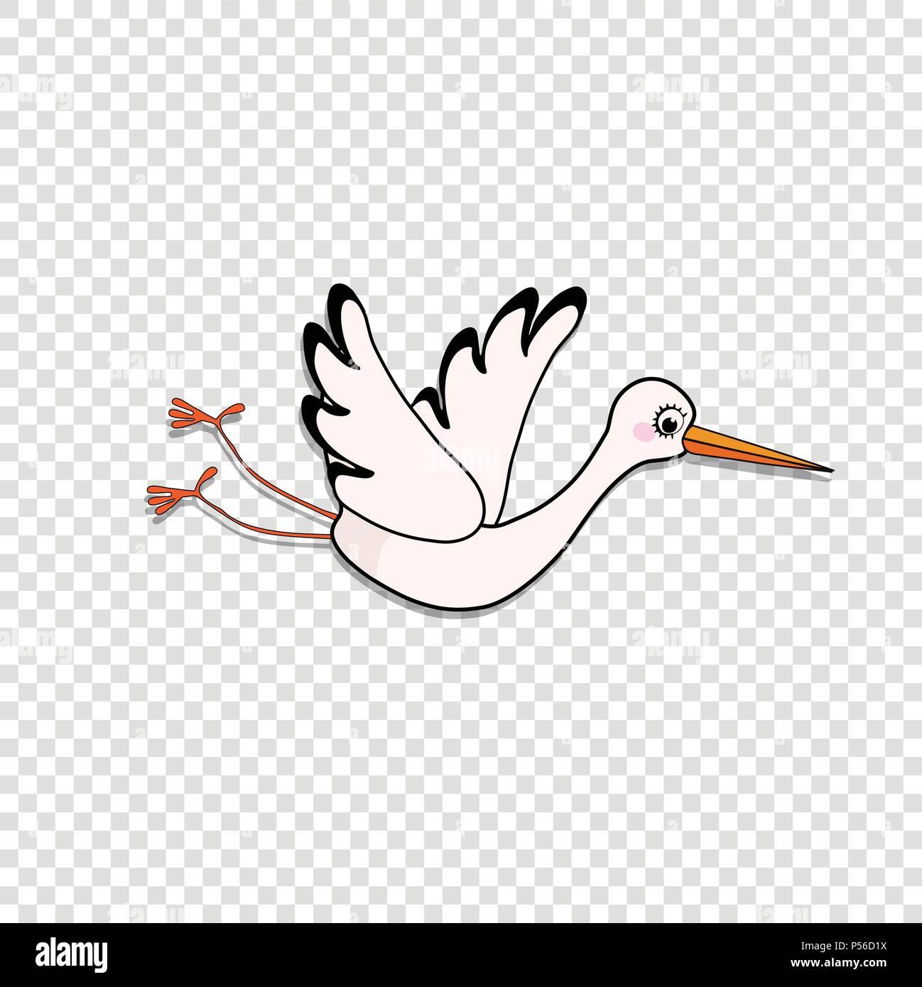 ilustração vetor cartoon clip art ou autocolante de cegonha voando